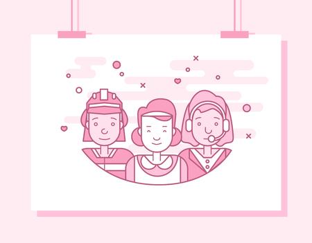 Les plats linéaires visages et professions illustration vectorielle .. avatar Social media, userpic et profils. Banque d'images - 74999599