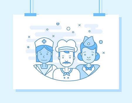 Les plats linéaires visages et professions illustration vectorielle .. avatar Social media, userpic et profils. Banque d'images - 74990362