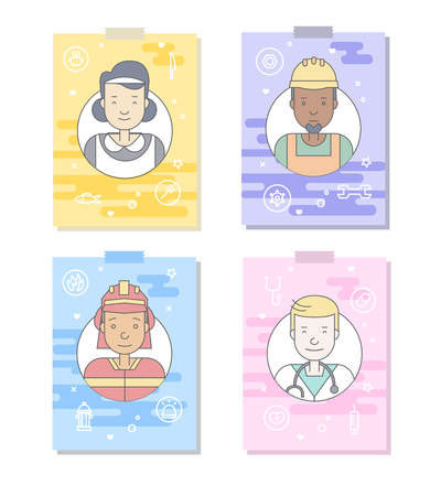 Linear Flat people faces and professions vector illustration.. Social media avatar, userpic and profiles.