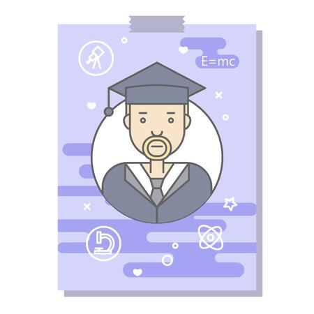 Les plats linéaires visages et professions illustration vectorielle .. avatar Social media, userpic et profils. Banque d'images - 74733407