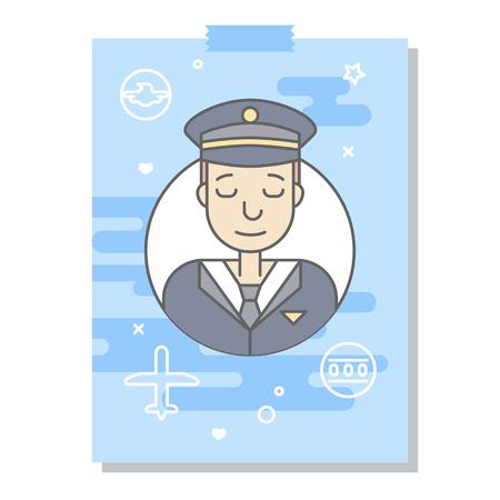 Les plats linéaires visages et professions illustration vectorielle .. avatar Social media, userpic et profils. Banque d'images - 74733408