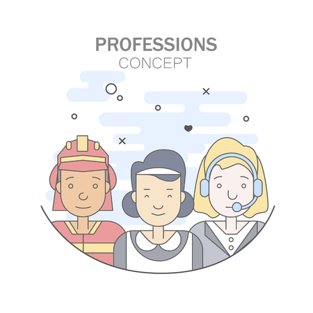 Linear Flat people faces and professions vector illustration. Stock Illustratie