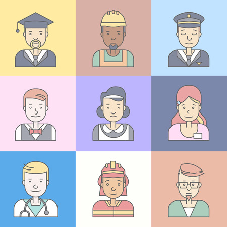 Linear Flat people faces and professions vector illustration. Illustration