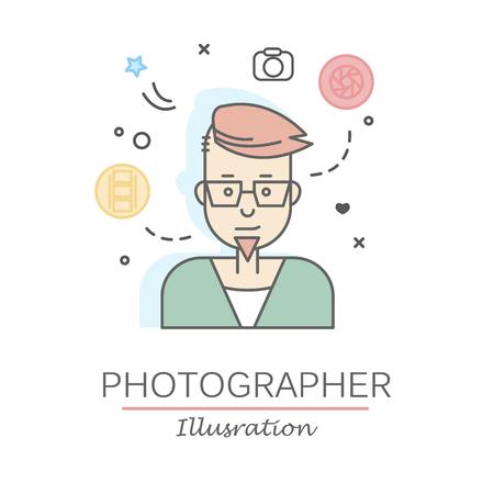 Visages de personnes plates linéaires et professions vector illustration. Banque d'images - 74649253