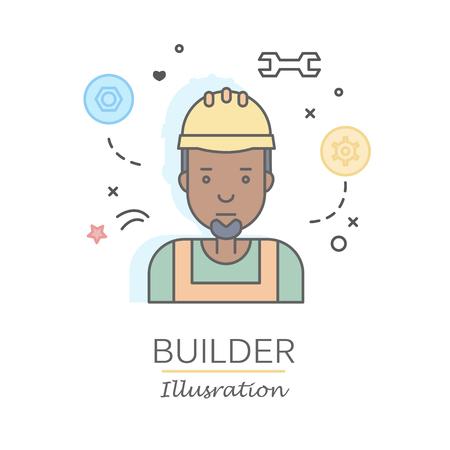 Les plats linéaires visages et professions illustration vectorielle .. avatar Social media, userpic et profils. Banque d'images - 74649254