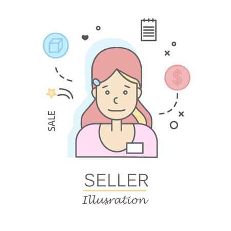Visages de personnes plates linéaires et professions vector illustration. Banque d'images - 74649265