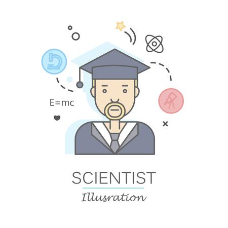 Les plats linéaires visages et professions illustration vectorielle .. avatar Social media, userpic et profils. Banque d'images - 74733409