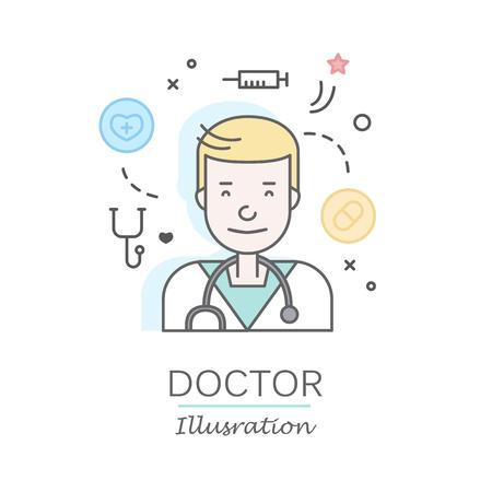 Les plats linéaires visages et professions illustration vectorielle .. avatar Social media, userpic et profils. Banque d'images - 74733410