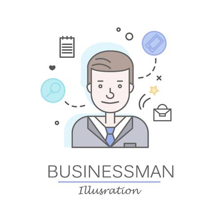 Les plats linéaires visages et professions illustration vectorielle .. avatar Social media, userpic et profils. Banque d'images - 74733411
