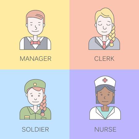userpic: Linear Flat people faces and professions vector illustration.. Social media avatar, userpic and profiles.