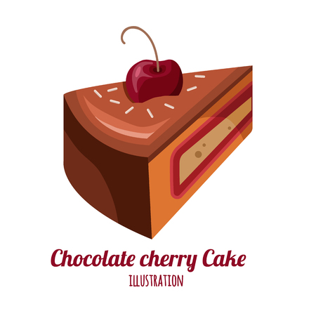 Piece of chocolate cake vector illustration