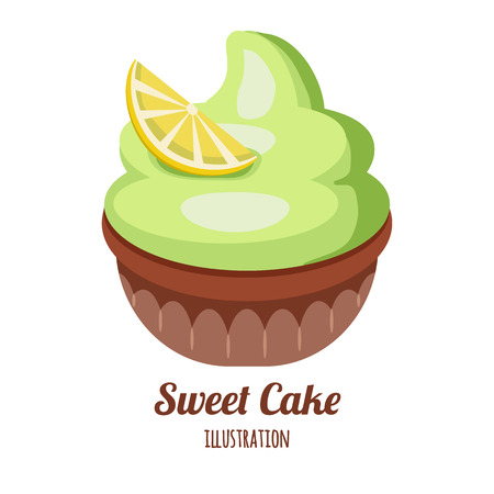 Cupcake with whipped cream Stock Illustratie