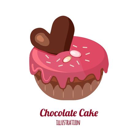 piece of chocolate cake vector illustration