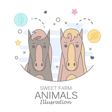 Animal set of horse portrait in flat graphics. Stock Illustratie