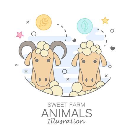 Animal set of portrait in flat graphics.