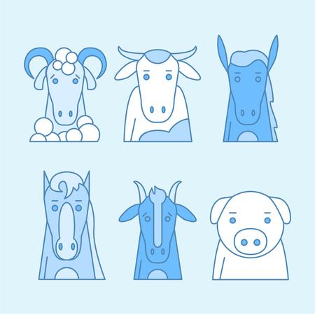 Animal set of portrait in flat graphics. Vector Illustration Stock Illustratie