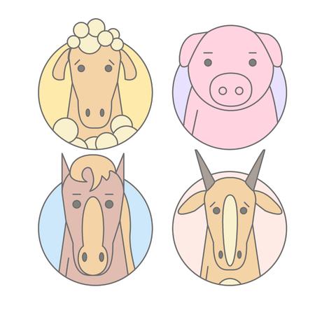 Animal ensemble de portrait dans les graphiques plats. Illustration vectorielle Banque d'images - 76056154