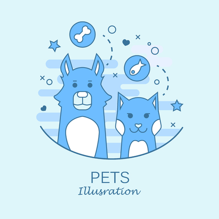 raccoon: Pets set of portrait in flat graphics. Vector Illustration