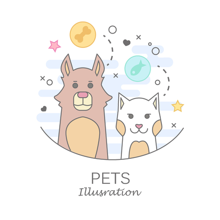Pets set of portrait in flat graphics. Vector Illustration