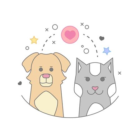 Pets set of portrait in flat graphics. Vector Illustration