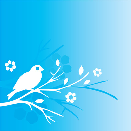 Illustration of a bird with floral elements on a blue background. Vector