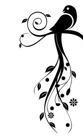 スワール: 花の要素を持つ鳥のイラスト。