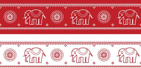 シームレスなインド象パターン国境のイラスト。