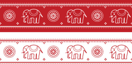 Illustration of a seamless Indian elephant pattern border.