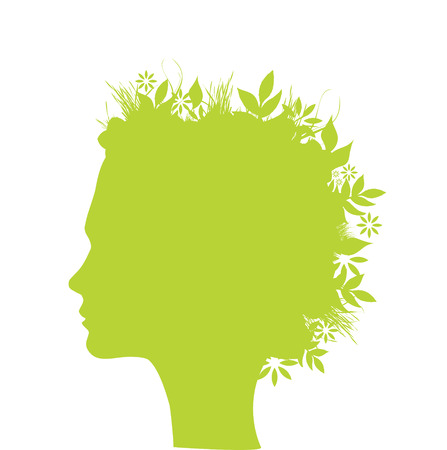 Illustration of a woman with leaf, flower and grass for hair