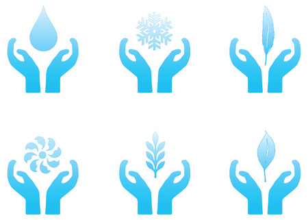 Set of blue vector nature themed icons.