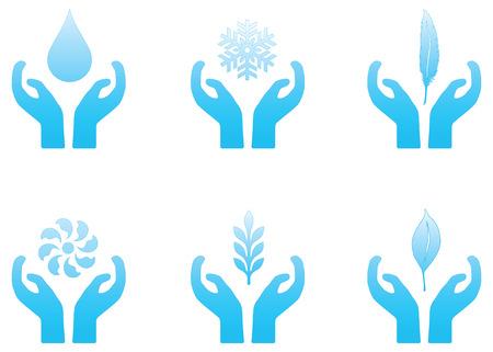 Set van blauwe vector natuur thema iconen.