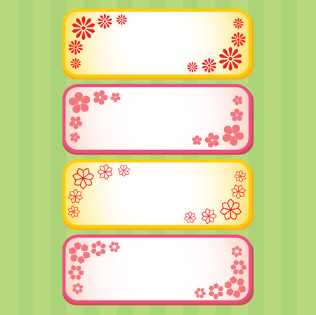 four spring flower banners with copyspace