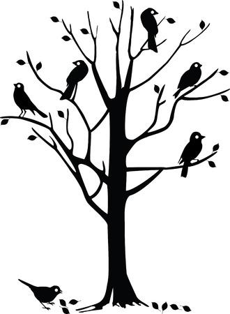Boom met een aantal zwarte vogels neergestreken op.