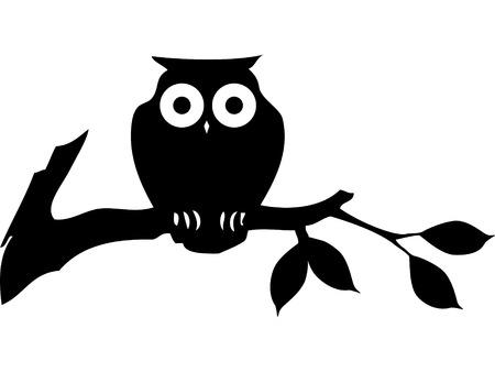 Zwarte cartoon brainy uil silhouet. Stock Illustratie