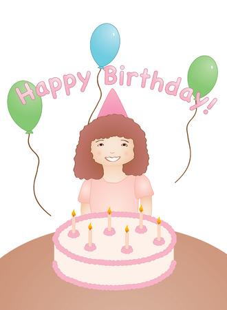 Vector illustration of a young girl in front of a birthday cake with candles and balloons. Illustration