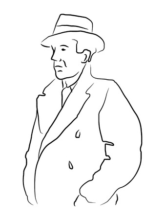 Vector illustration of a man in a trench coat and hat in outlines. Vector