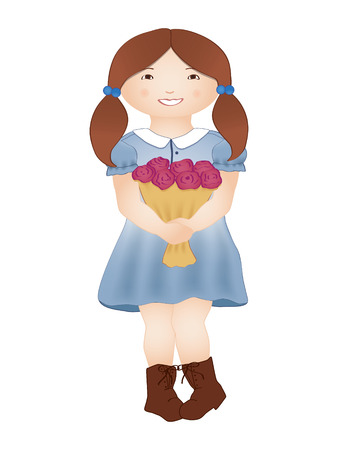 ponytails: Vector illustration of a little girl with a gift of roses, great for Mothers Day or birthdays.