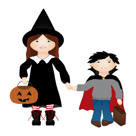 treating: Vector illustration of 2 kids trick or treating on Halloween disguised as a witch and a vampire. Illustration