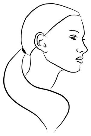 Vector illustration del profilo di una giovane donna, in contorni.