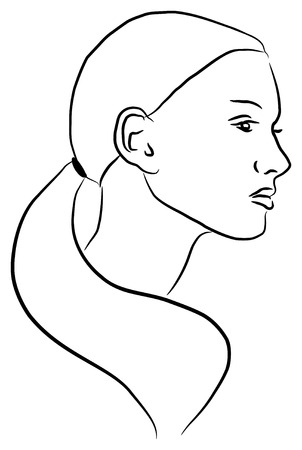 Vector illustration of a young woman's profile, in outlines. 일러스트