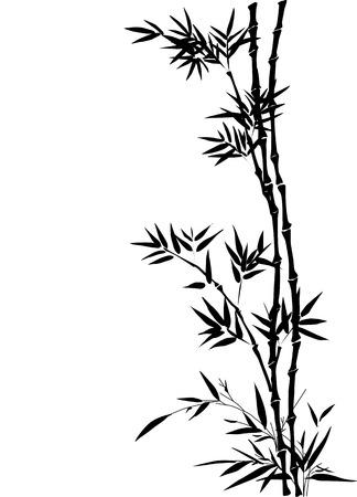 Bamboe versiering inge geven door de traditionele Chinese inkt schilderen