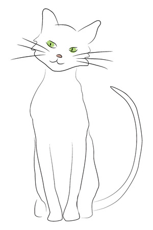 cat illustration: Cute hand drawn style cartoon cat