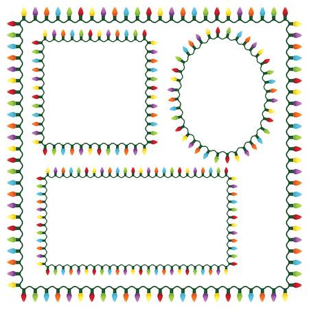 Set frames voor kerst lampjes Stock Illustratie