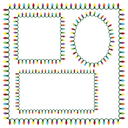Set of Christmas lights frames