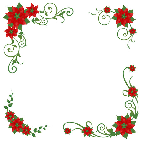 Set of Christmas poinsettia corner ornaments Vector