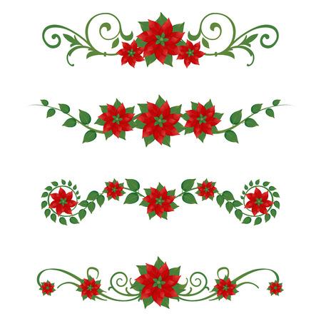 flor de pascua: Adornos de conjunto de Navidad Euphorbia pulcherrima  Vectores