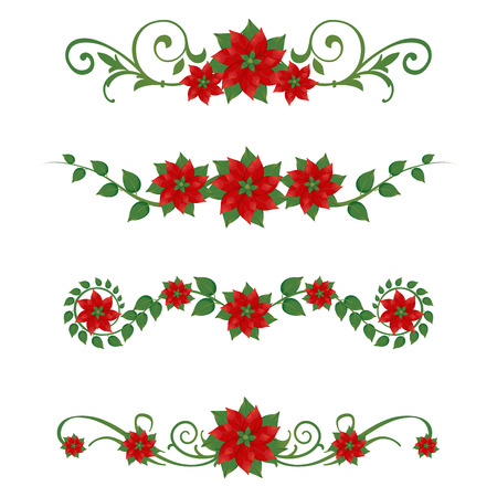 Set of Christmas poinsettia ornaments