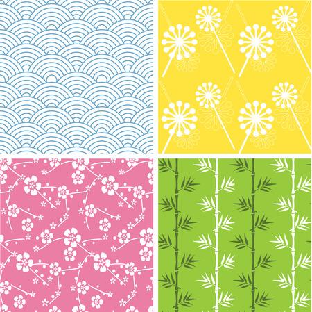 4 펑키 일본식 원활한 패턴의 집합 일러스트