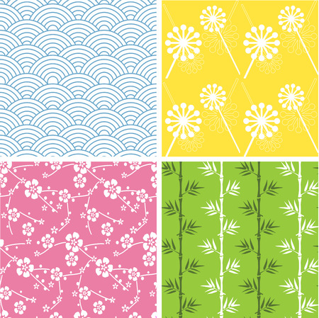 Set of 4 funky Japanese style seamless patterns Vector