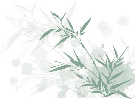Arrière-plan de bambou de style asiatique avec des éléments grunge Banque d'images - 5949460